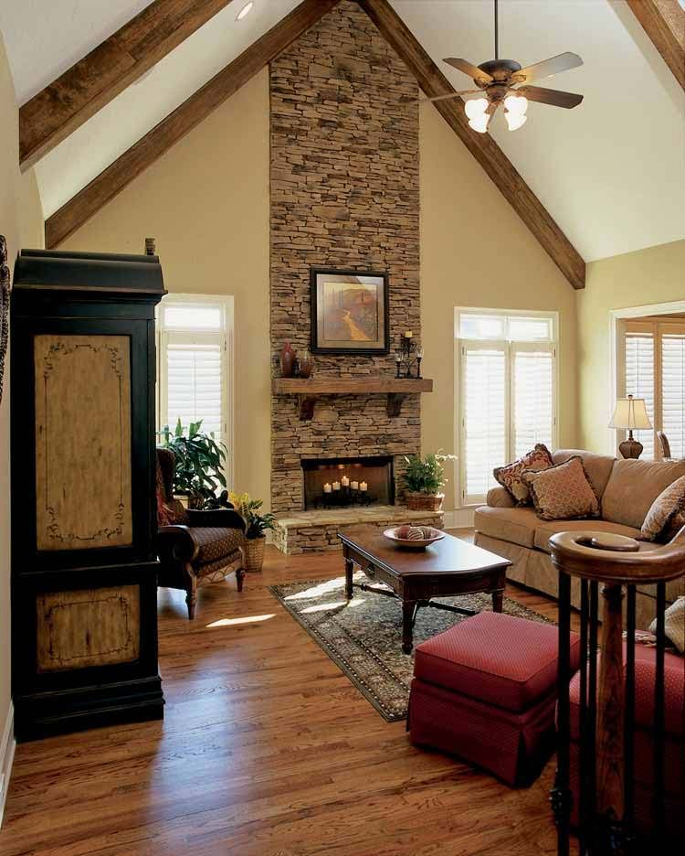 Grand Fireplace W Vaulted Ceilings Beams Open Floor: Love Floors, Fireplace And Wood On Ceiling