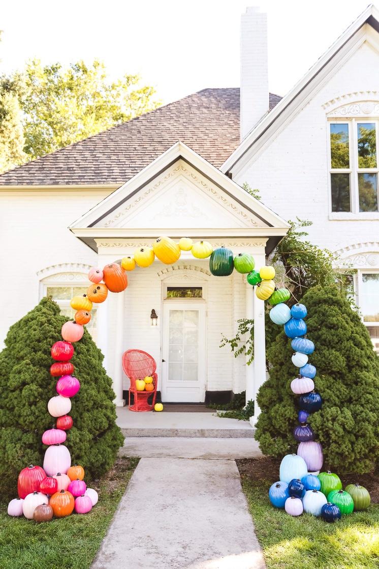 DIY Rainbow Pumpkin Arch