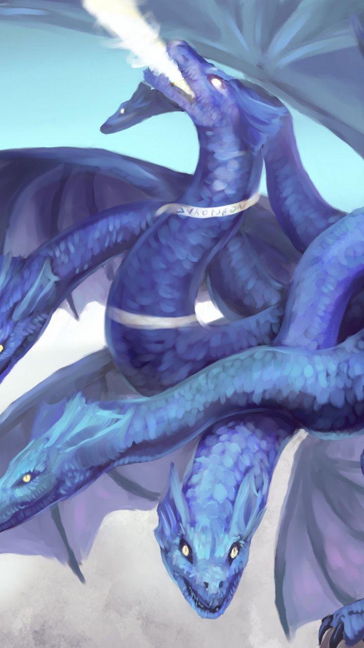 Hydra Dragon Fantasy Art 720x1280 Wallpaper Dragon Artwork Fantasy Monster Mythical Creatures