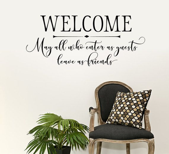 Welcome Wall Decal - Entryway Decor - Modern Calligraphy Wall Art ...