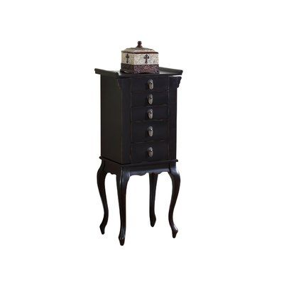 Wildon Home Nang Jewelry Armoire With Mirror Color Black