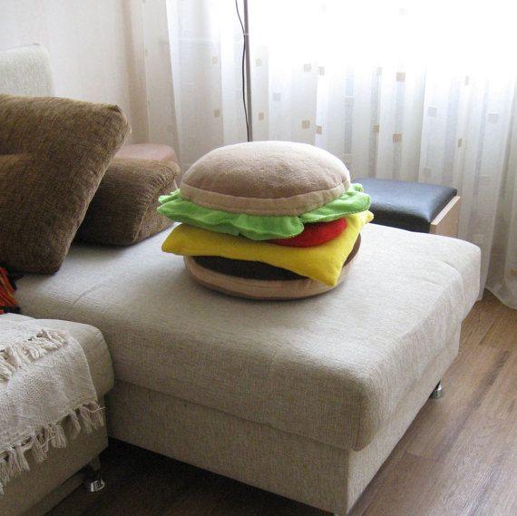 Hamburger Pillow Handmade Food Pillow Burger Cushion 40 Cm
