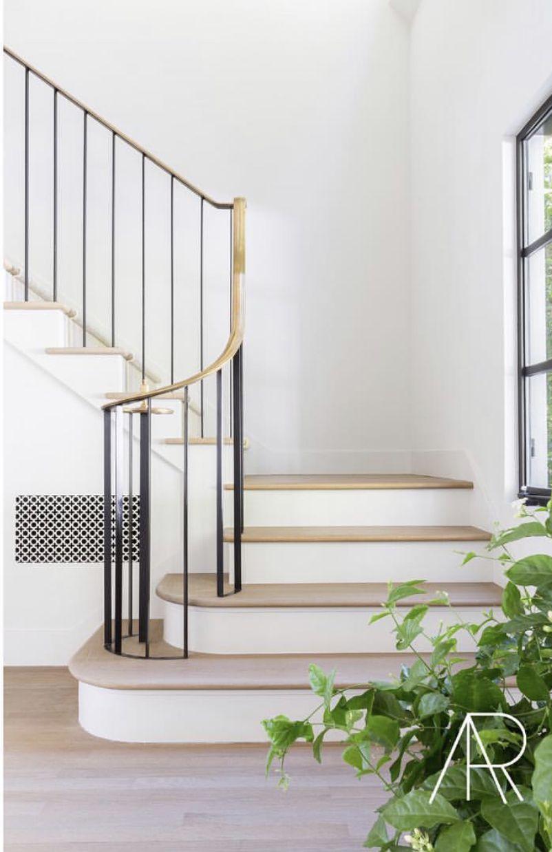 Brass Railing With Black Stiles Stairs Design Interior Stairs
