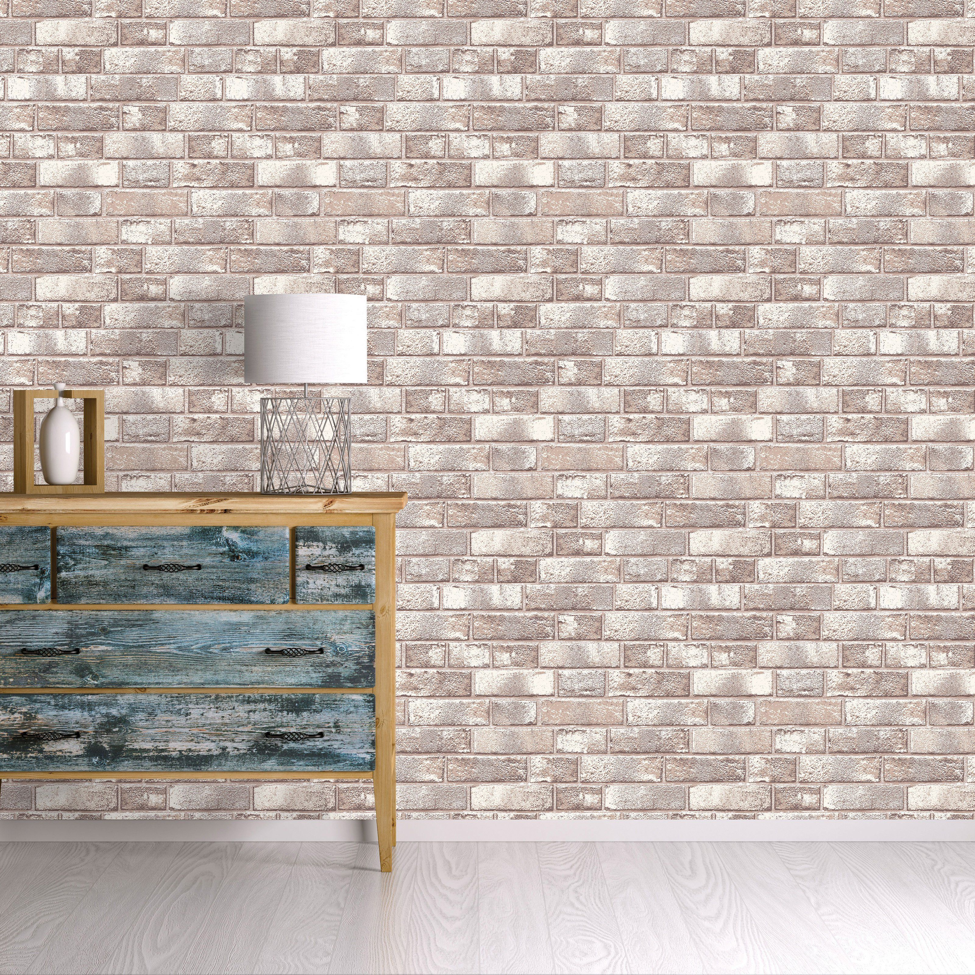 Tempaper Textured Brick Self Adhesive Removable Wallpaper Br523 Removable Brick Wallpaper Textured Brick Wallpaper White Brick Wallpaper