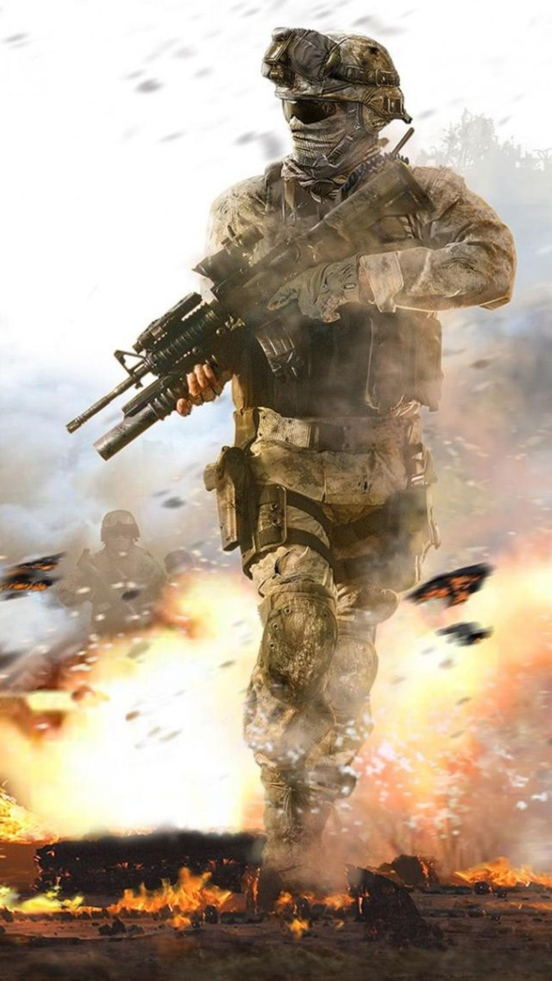 Fighting Soldier In Hail Of Bullets Iphone 8 Wallpapers Army Wallpaper Call Of Duty Military Wallpaper