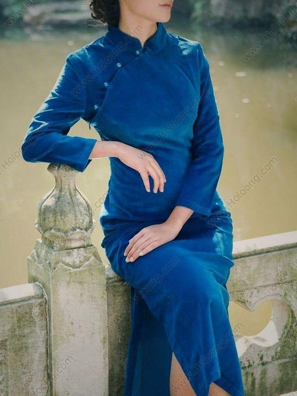 Women's Cotton Blue Ankle-length Long-sleeve Winter Thicken Cheongsam Dress - USD $ 111.00