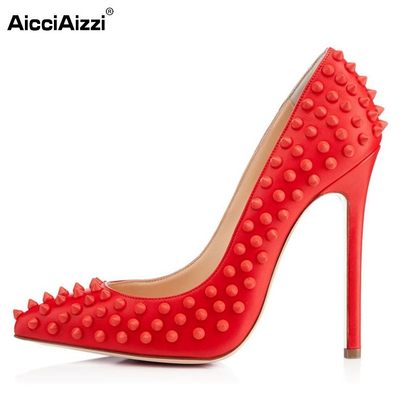 65da9abc245d9 Women High Heel Shoes Pointed Toe Pumps Rivet Studded Handmade For Wedding  Party Dress Stiletto Shoes Woman Size 35-46 B066  Affiliate