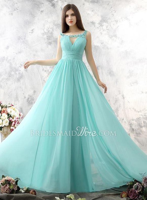 mint green flowerpetals adorned long chiffon bridesmaid dress