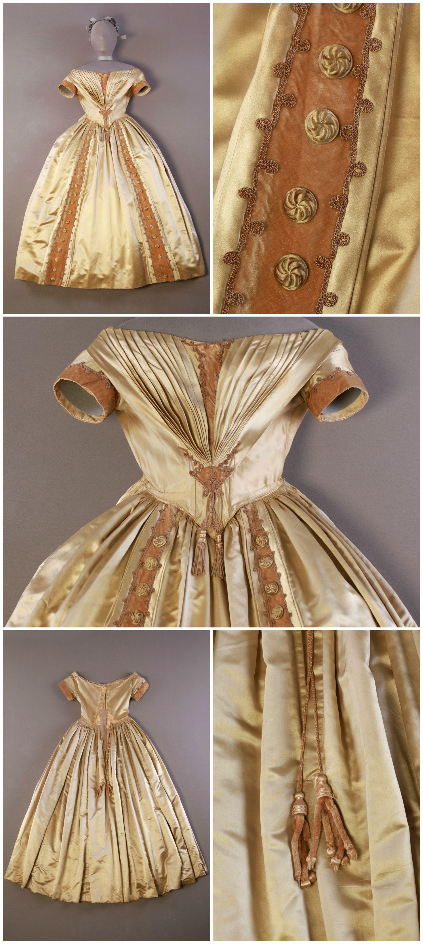 1839-43, abendkleid aus seidensatin und samt | mode, kleider