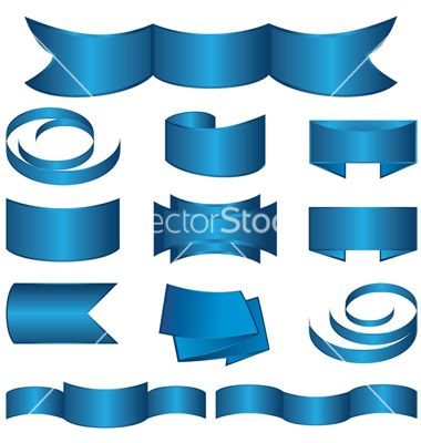 Set of blue ribbon and stickers vector 725533 by sinaappel on vectorstock