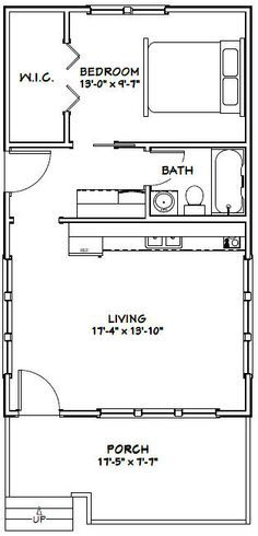 18x30 tiny house 18x30h1 540 sq ft excellent floor plans crazy pinterest. Black Bedroom Furniture Sets. Home Design Ideas