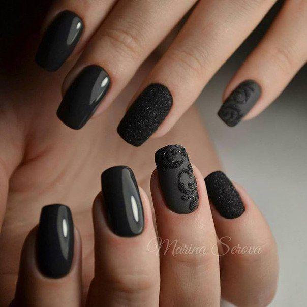 Ногти фото шеллак с черным
