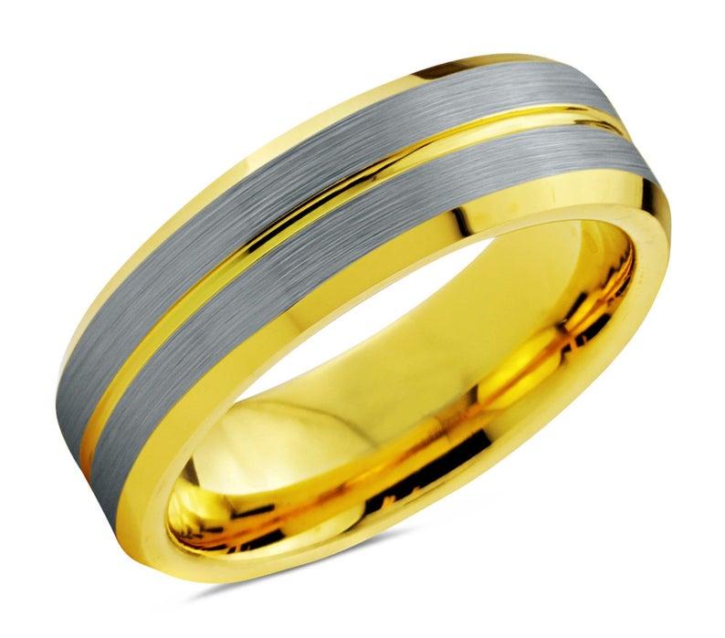 Mens Wedding Band Silver, Wedding Ring Yellow Gold 18K 8mm