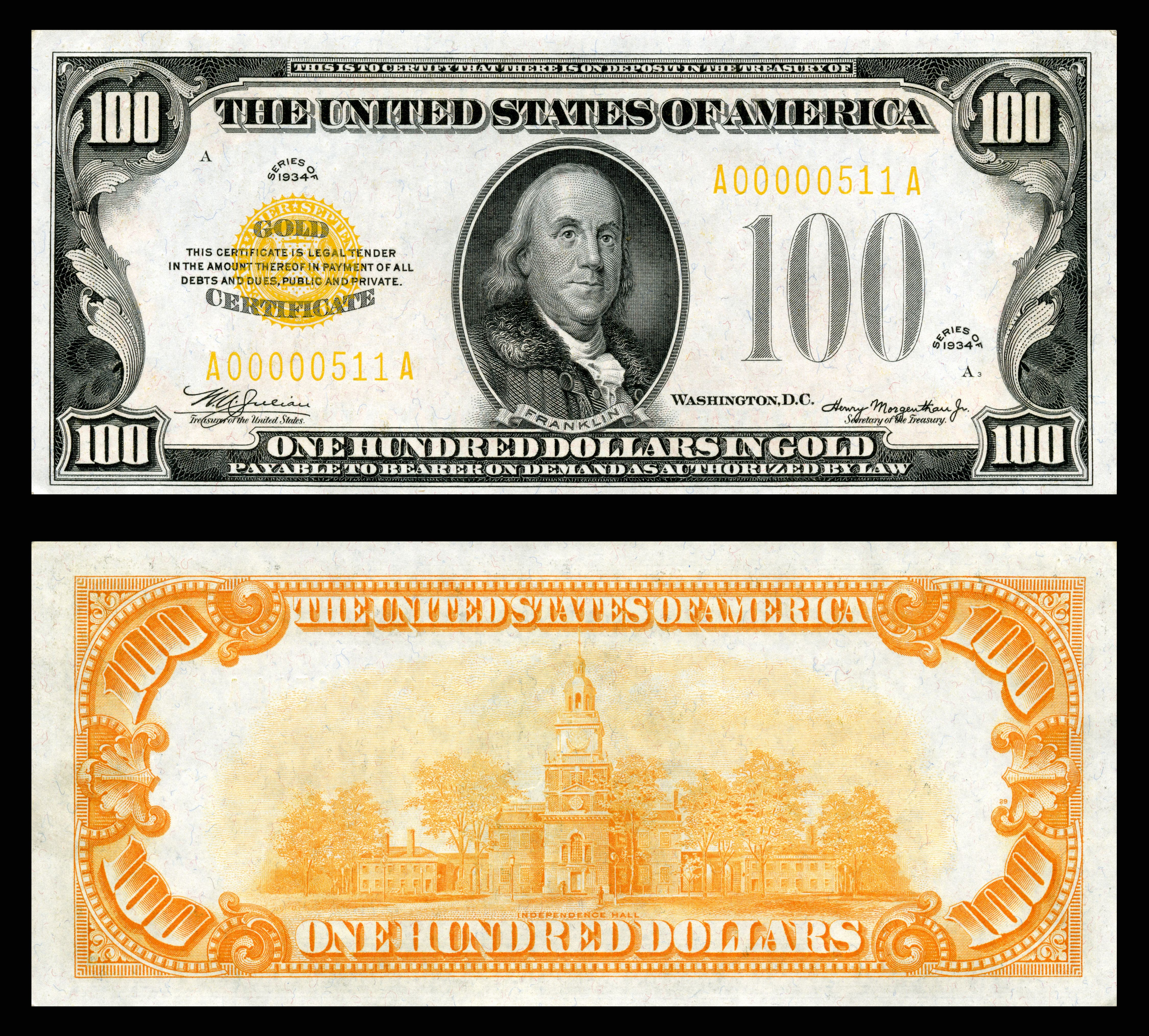 Us Gold Certificate 100