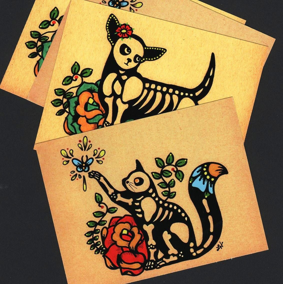 Day Of The Dead Postcards Cat Skeleton Pet Donation To Austin