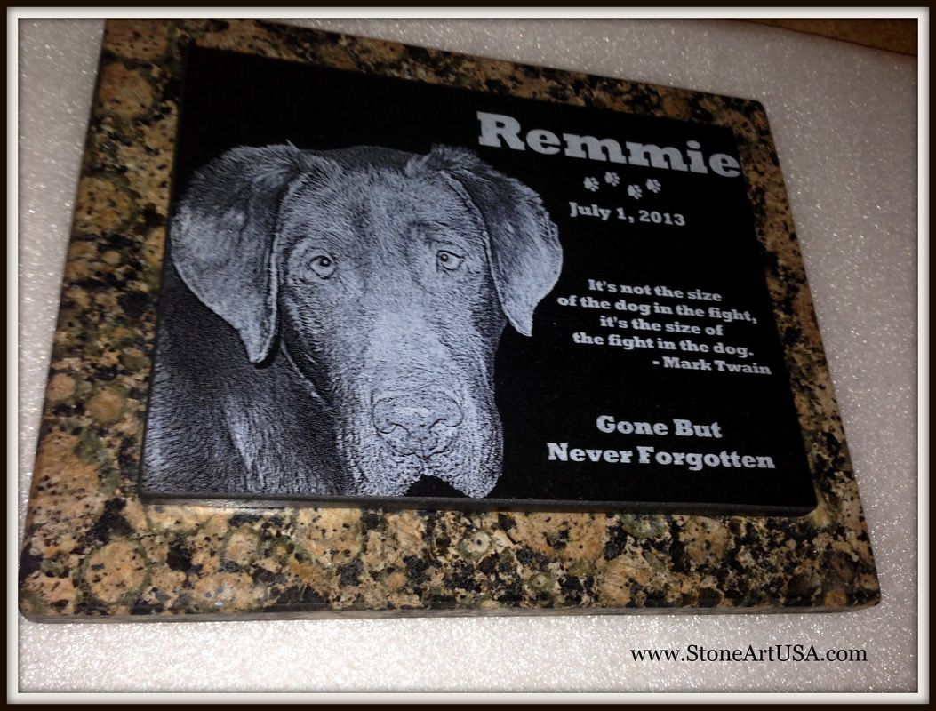 R.I.P. Remmie granite on granite pet memorial stone by