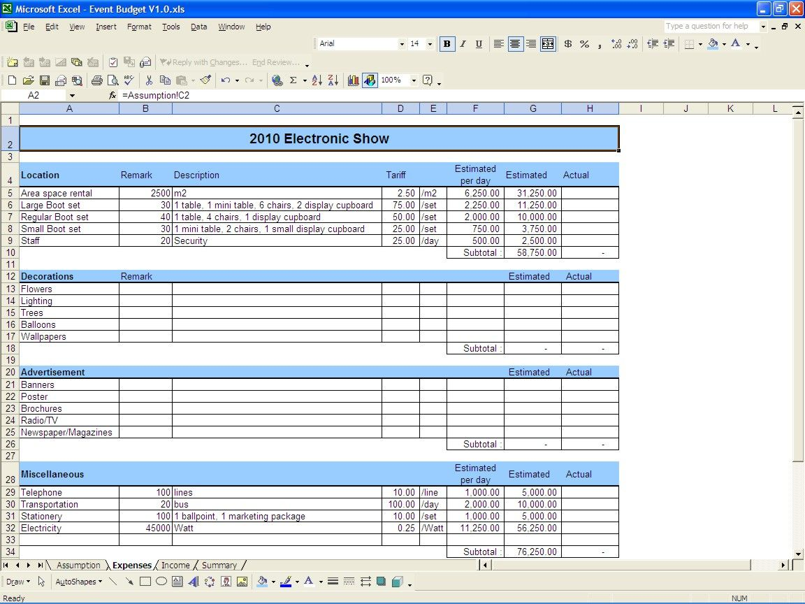 Event Budget Excel Templates Event budget, Budgeting
