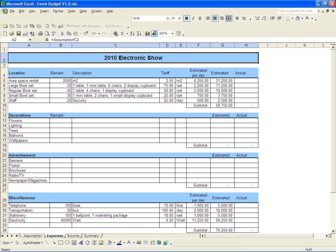 Event budget excel templates event budget budgeting