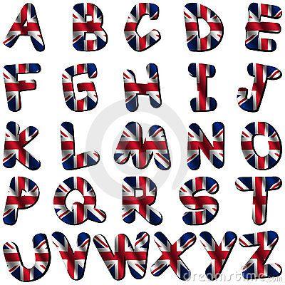 Fuente británica. Letras del alfabeto con los colores de la bandera ...
