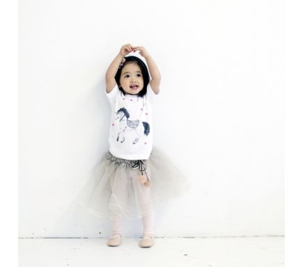 Atsuyo Et Akiko Heart Tutu With Pompom In Silver | Scandinavian Minimall