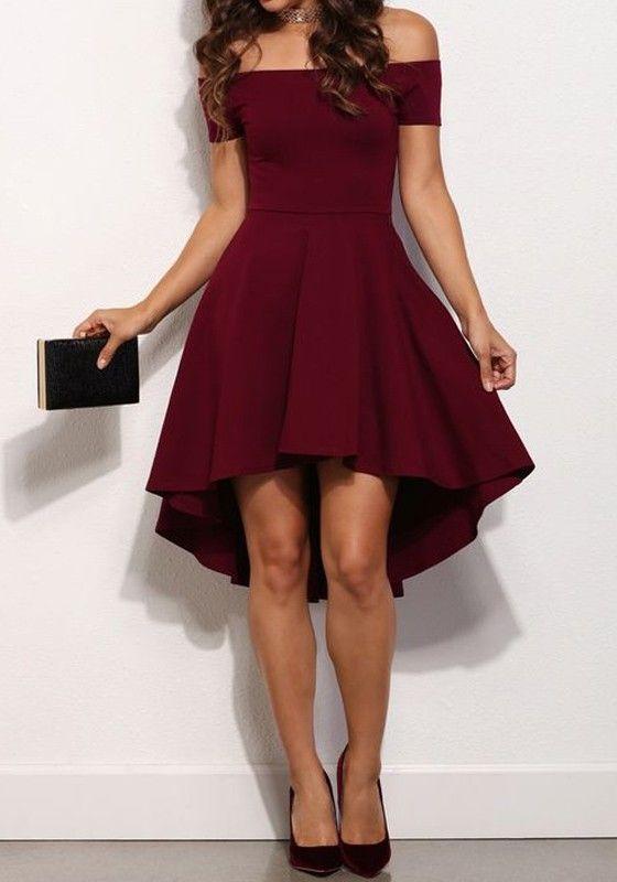 Wine Red Plain Draped Boat Neck Party Acrylic Midi Dress