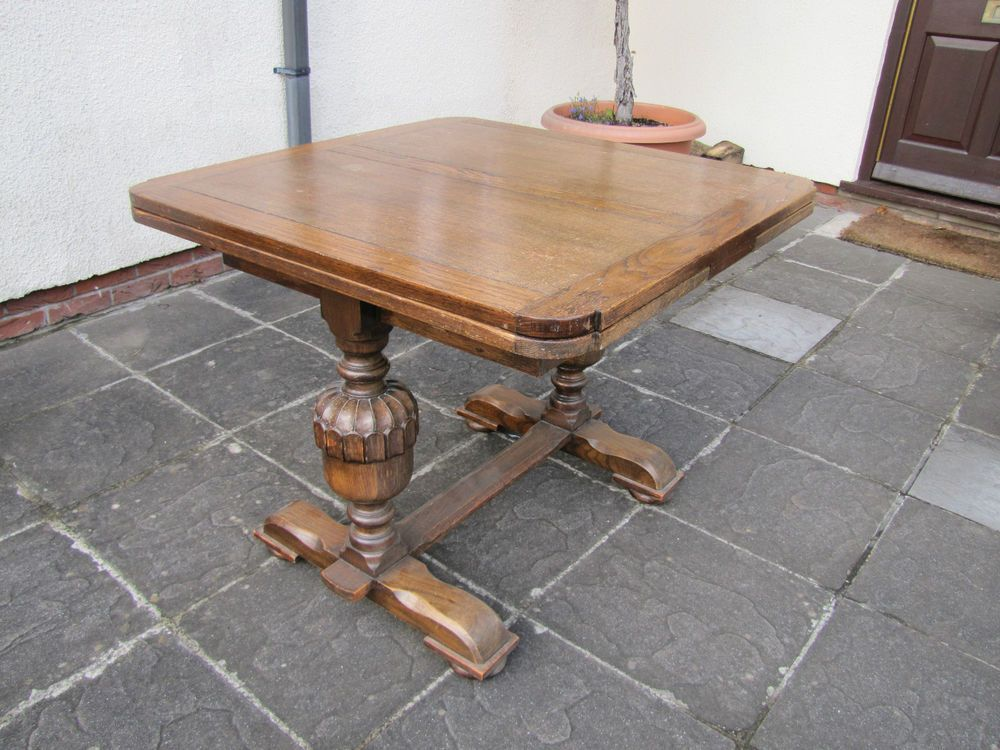 Late 1920 S Early 1930 Ercol Solid Oak Extending Refectory Dining Table