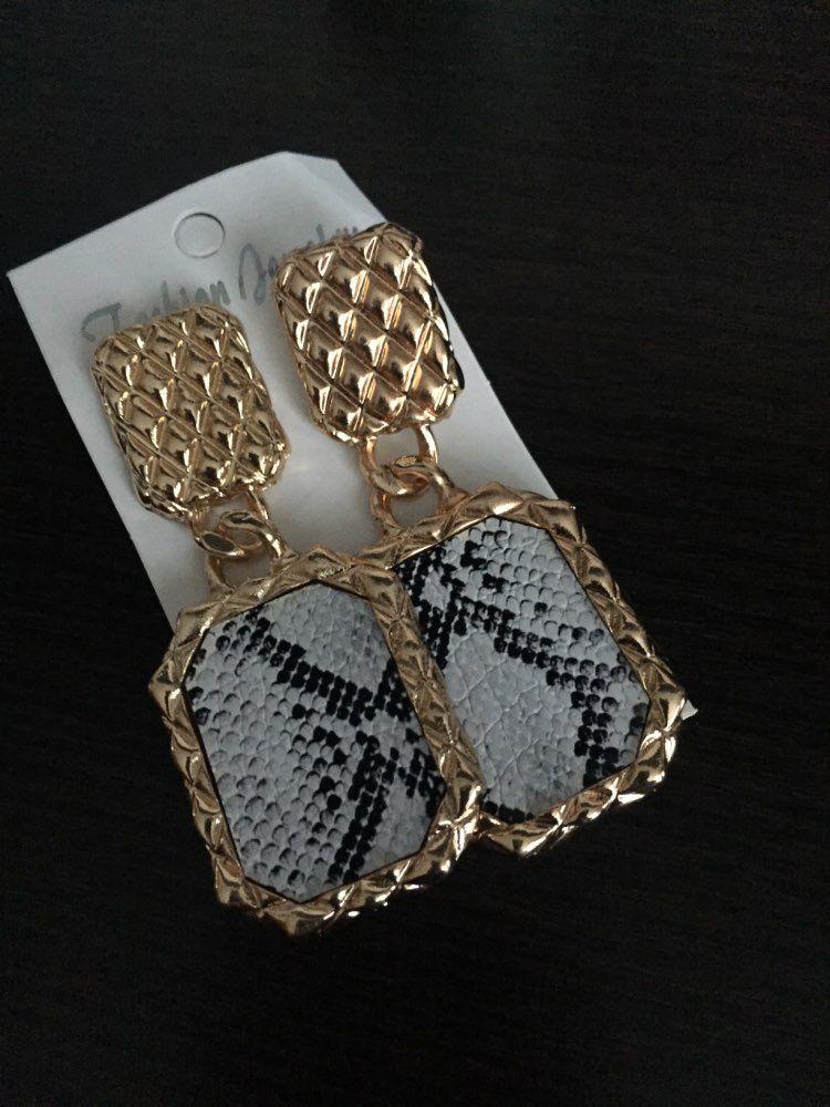 35b1ea082fcdf0 chicmaxonlineRectangle Metal Drop Earrings Women Party Hanging Earring