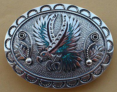b414a8448d87 Boucle de ceinture américaine Navajo, aigle en argent incrusté de turquoise  et corail, bijou amérindien en argent massif