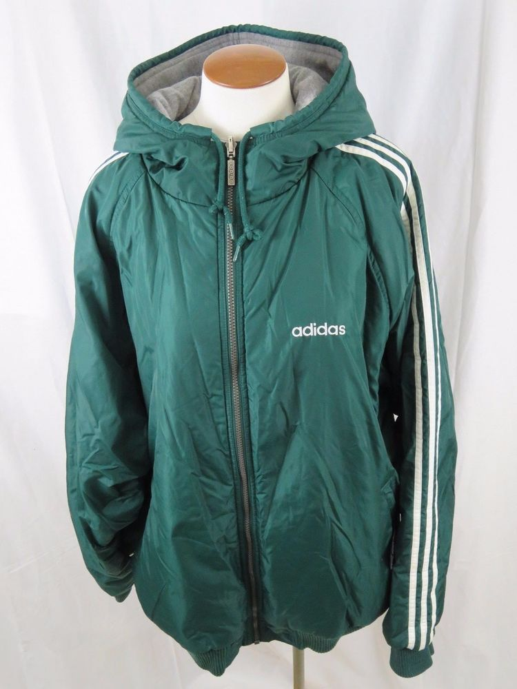 men 39 s xxl vintage adidas reversible winter coat jacket green w gray lining adidas basiccoat. Black Bedroom Furniture Sets. Home Design Ideas