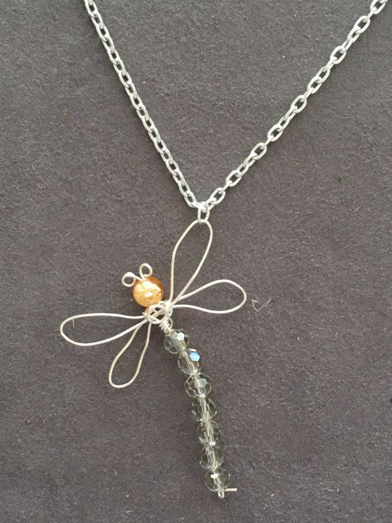 Dragonfly necklace Wire wrapped dragonfly by AmberMoonJewellery