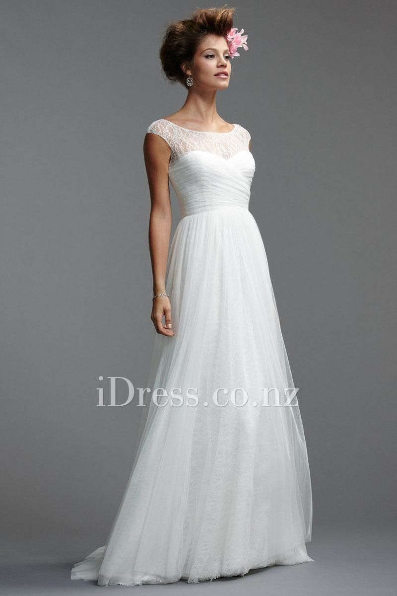 White Lace Tulle Illusion Neck Simple Wedding Dress Wedding Dresses Strapless Wedding Dresses Lace A Line Wedding Dress