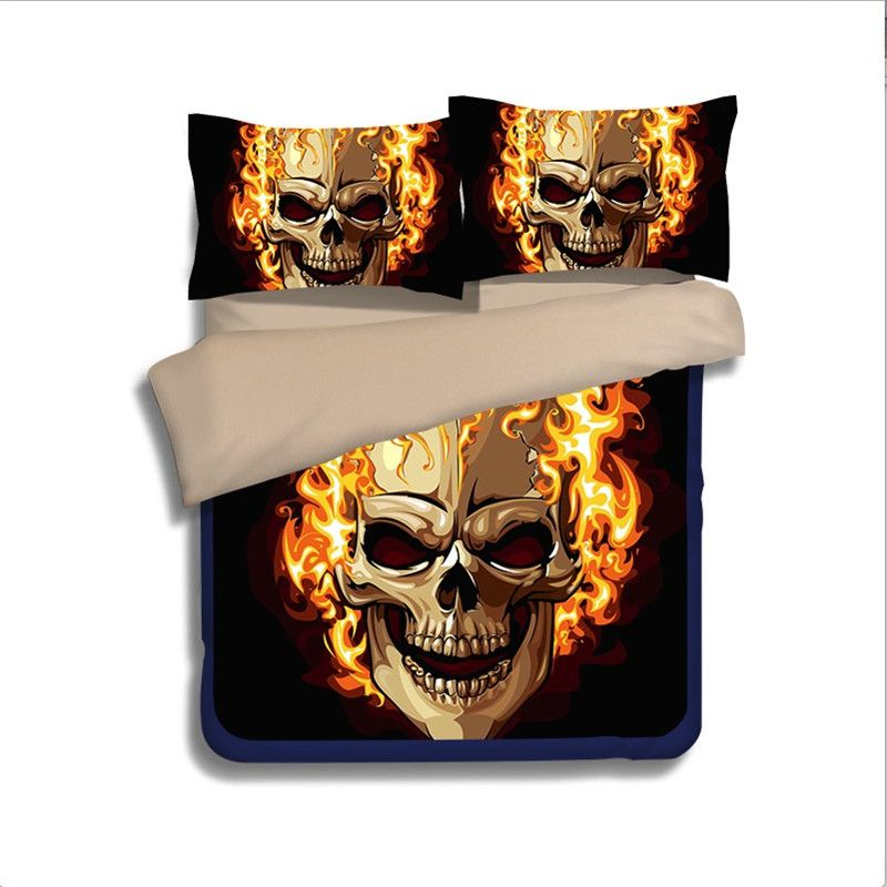 interior design indian flaming skulls fire 3d bedding set twin full queen king size comforter duvet