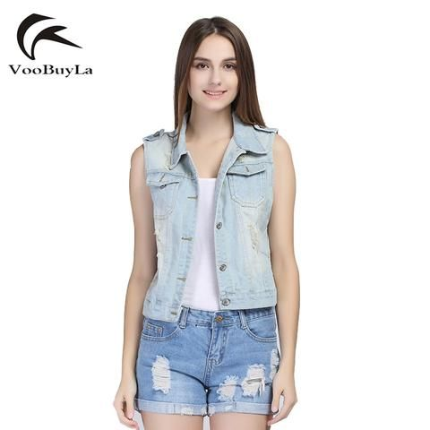 f2b3ec616992 VooBuyLa Brand Plus Size 4XL 5XL 6XL Denim Vest Women Sleeveless New 2018  Summer Ripped Holes Button Fashion Jeans Vest Tops