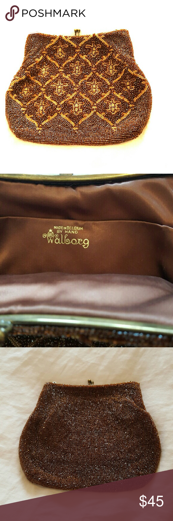 Vintage Wolberg beaded clutch purse Handmade in Belgium.  Exquisite detail, beaded by hand. Silk lining. No strap Vintage Bags Clutches & Wristlets