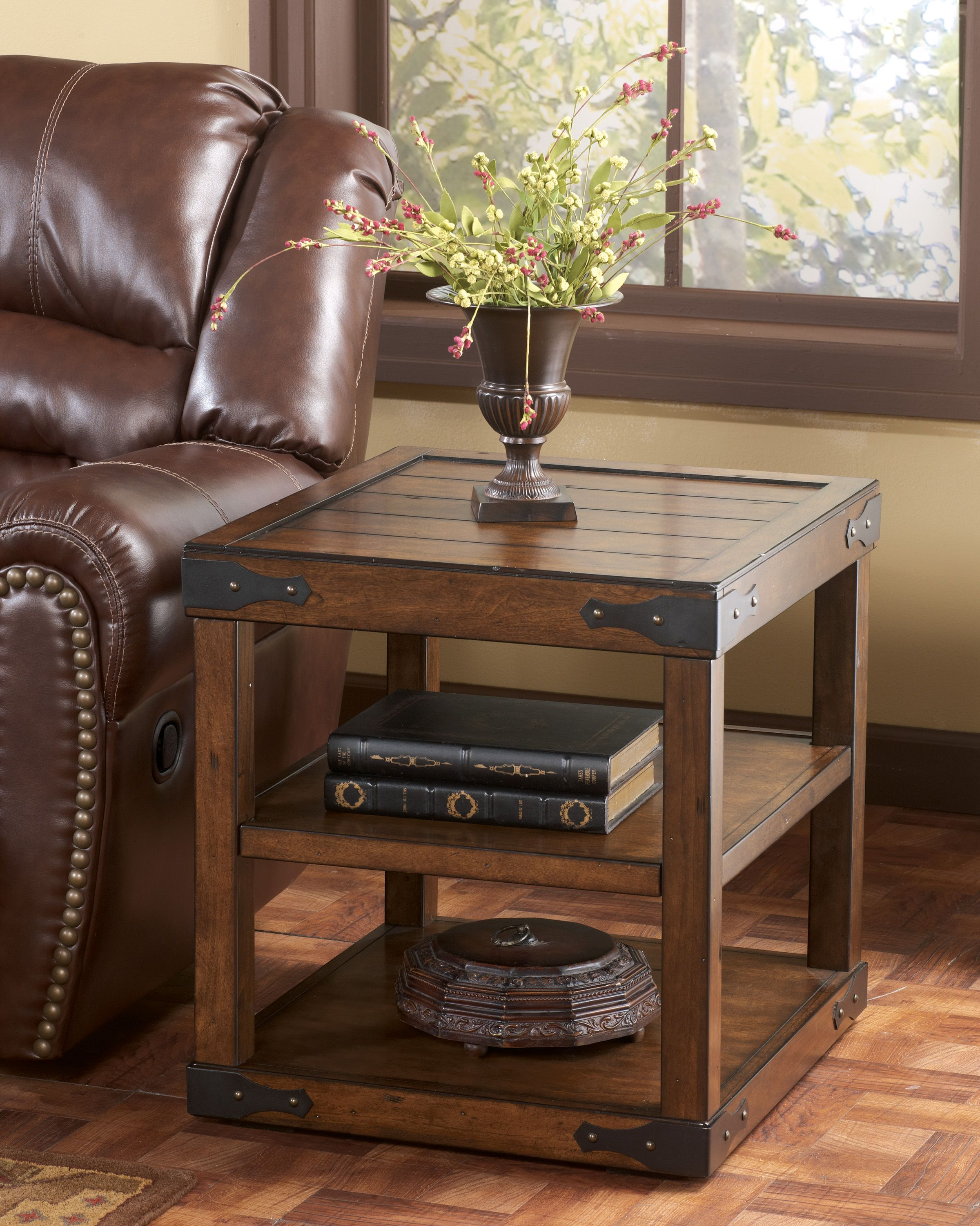 Rustic end tables google search home decor pinterest for Black wood coffee table and end tables