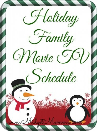Holiday Family Movie TV Schedule 2013 Holidays Pinterest