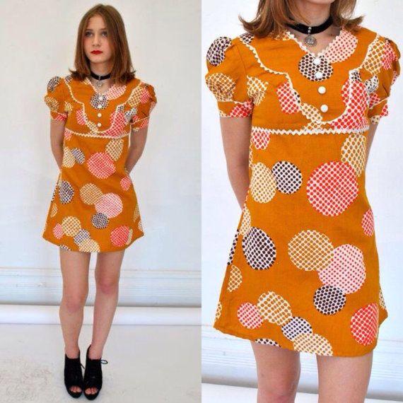 513e4f7c6d6ba Vintage 60's mod mini dress/sz xs - s/ 1960's empire waist, puff sleeve  Dolly Rocker retro mustard abstract polkadot cotton ric rac bib trim