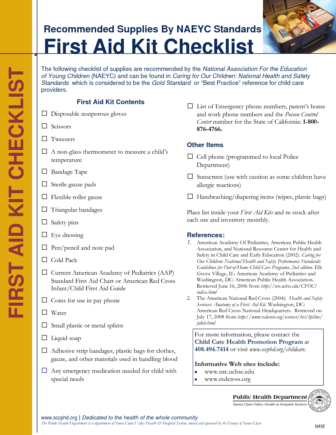 photograph about Printable First Aid Guides named Printable Initially Help Package Listing Initial Support Chart - PDF