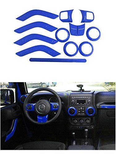 Opall Full Set Blue Interior Trim Kit Fits Jeep Wrangler Jk Jku 2017 4 Doorcondition 100 Brand New Material Made Of High Quality Abs Plastic Color