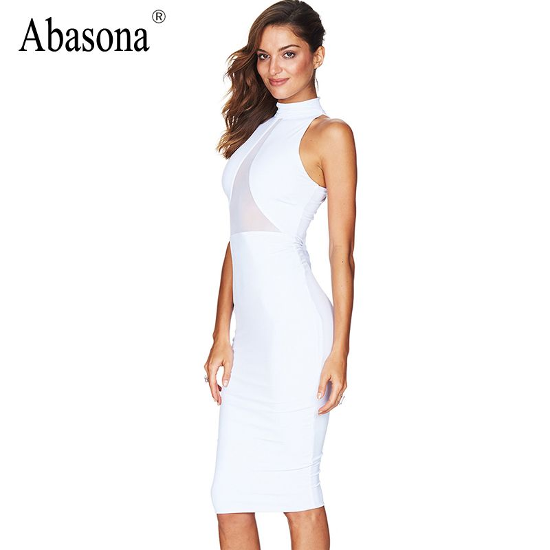Summer Black White Mesh Patchwork Lace Bodycon Bandage Dress Plus