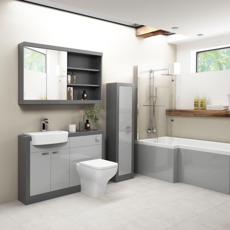 Grove 1200 Shower Bath Suite Platinum Grey Toilet Sink Set