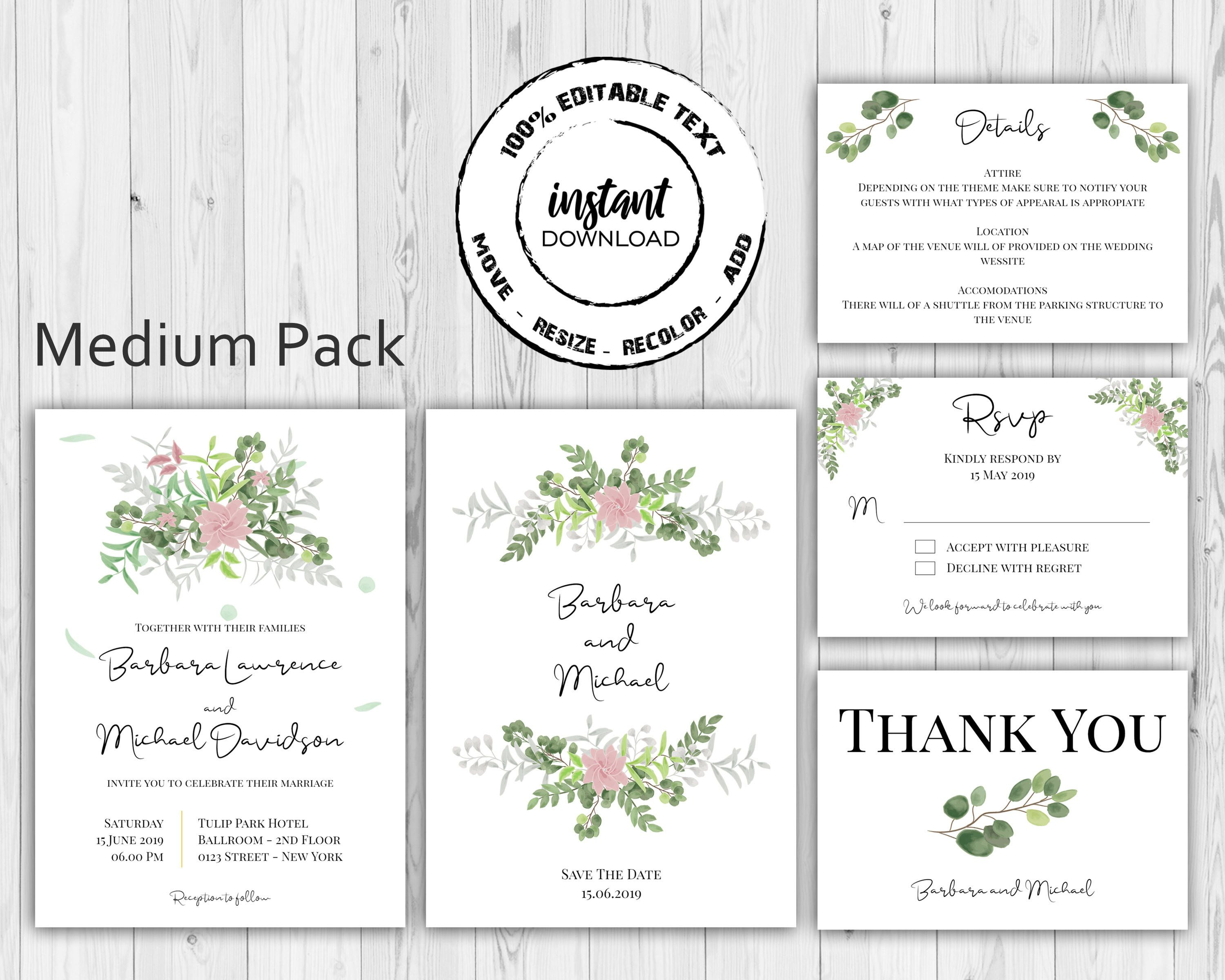 Watercolor Boho Floral Wedding Invitation Card Pack Template Rsvp