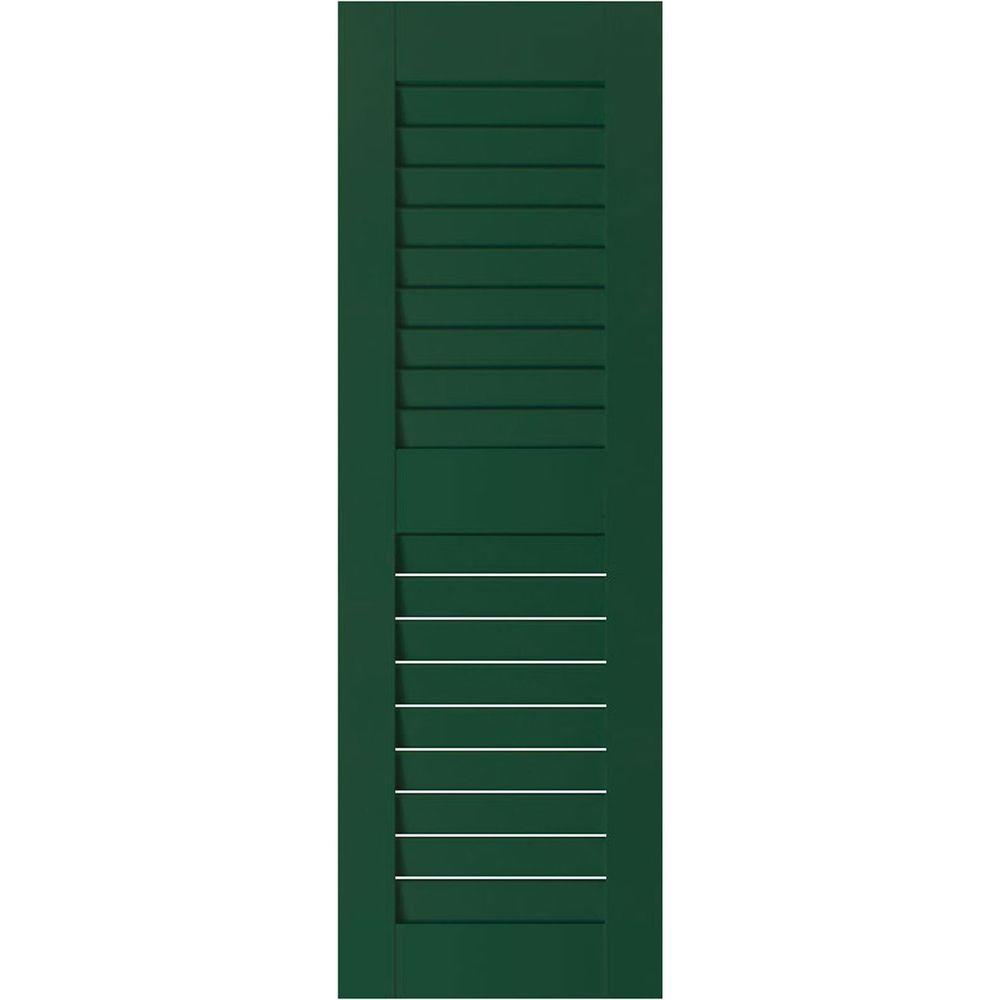 Ekena Millwork 18 In X 63 In Exterior Real Wood Sapele Mahogany Louvered Shutters Pair Chrome Green Products Louvered Shutters Wood Shutters Shutters