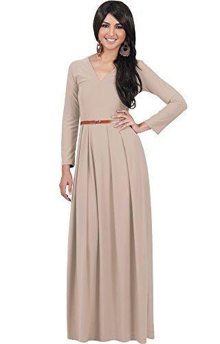 6bfcabb8184c KOH KOH Petite Womens Long Full Sleeve Sleeves VNeck Formal Fall Evening  Elegant Flowy Empire Waist Modest Vintage Abaya Muslim Gown Gowns Maxi  Dress ...