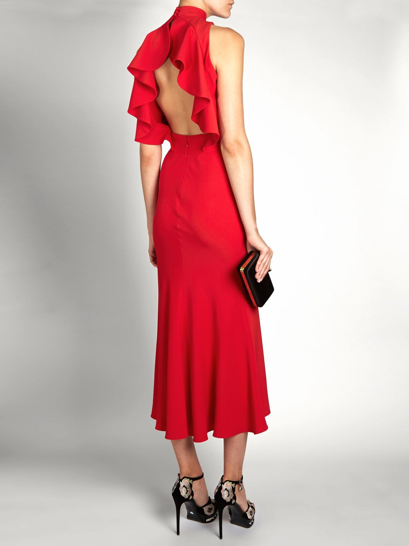 Ruffle-back high-neck crepe midi dress | Alexander McQueen | MATCHESFASHION.COM