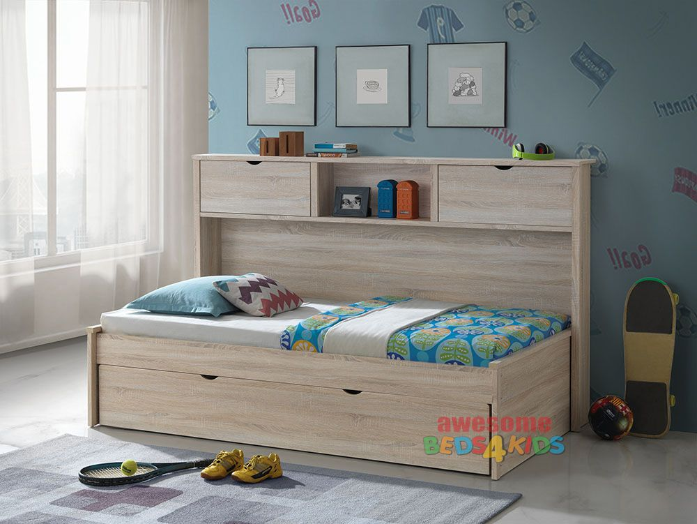 Pepito King Single Captains Trundle Bed with Bookcase is a