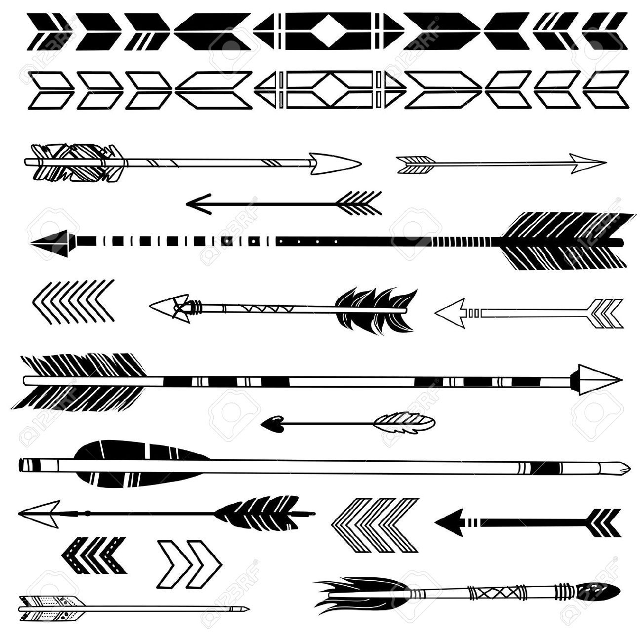 25077355 A Set Of Cute Hipster Arrows Hand Drawn Doodles Stock Vector Arrow Indian Native Jpg 1300 1300 Tatoeage Ideeen Tatoeage Pijl