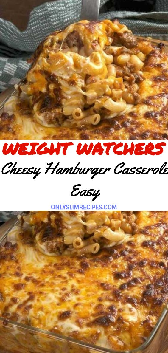 Cheesy Hamburger Casserole easy #hamburgercassarole
