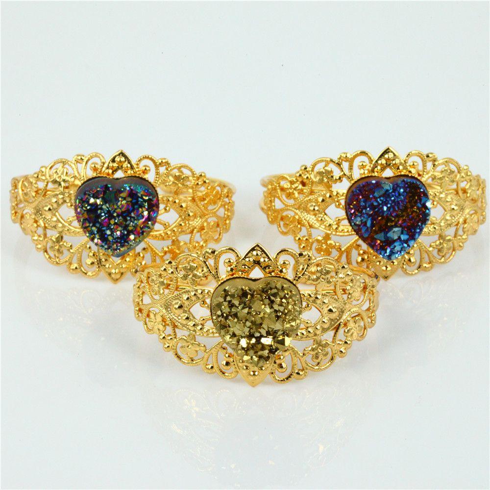 Old fashion vintage style golden rainbow purple heart shape druzy