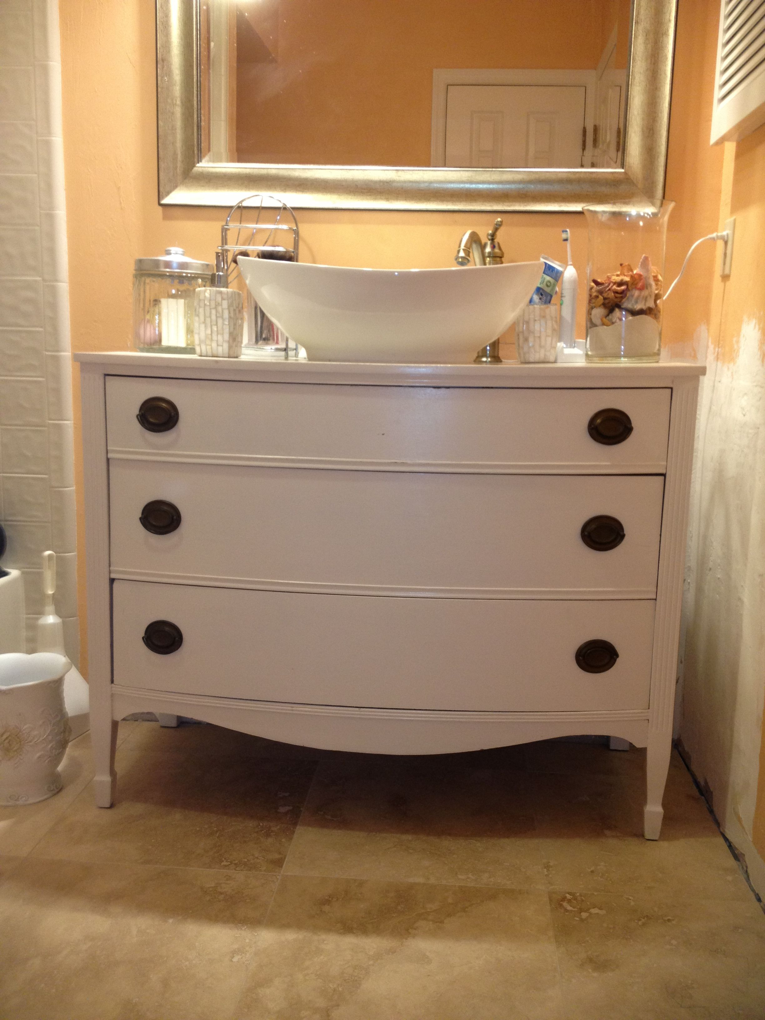 My Diy Bathroom Vanity Redo I Found The Faucet And Sink In Amazon And The Dresser At An Estate S Diy Bathroom Vanity Diy Bathroom Design Bathroom Vanity Redo